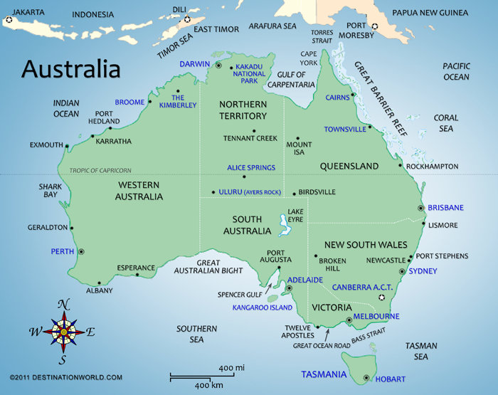Australia Vacations Map Of Australia Destination World - Australian map of the world