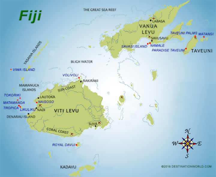 Fiji vacations by destination world map of the fiji islands gumiabroncs Gallery