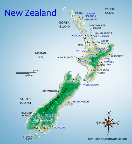 Map New Zealand World Bing images