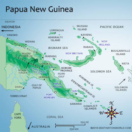 Papua new guinea vacations by destination world map of papua new guinea sciox Image collections