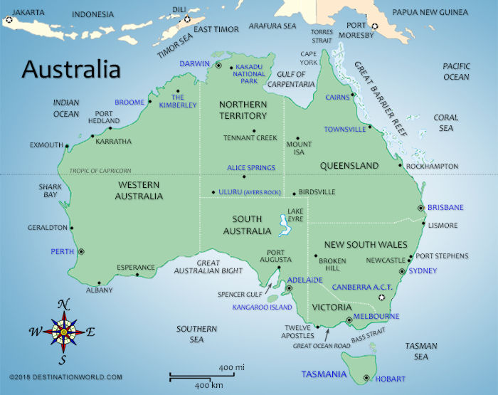 Australia In World Map.Australia Vacations Map Of Australia Destination World